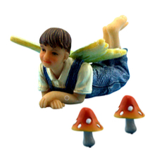 Boy Fairy Lucas & Mushrooms - Fairies For Fairy Garden