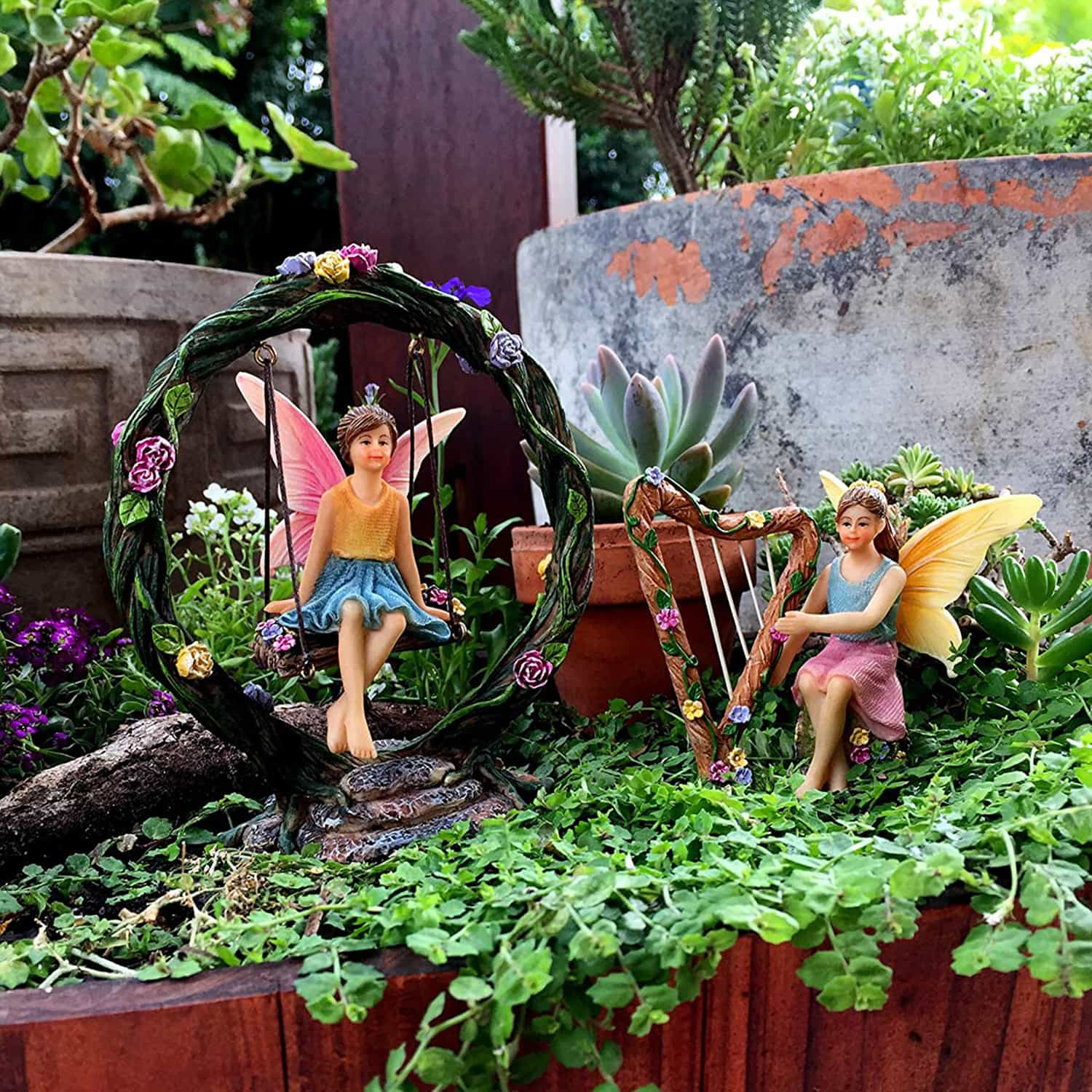 Fairies Playing Harp And Swing Set - Fairies For Fairy Garden