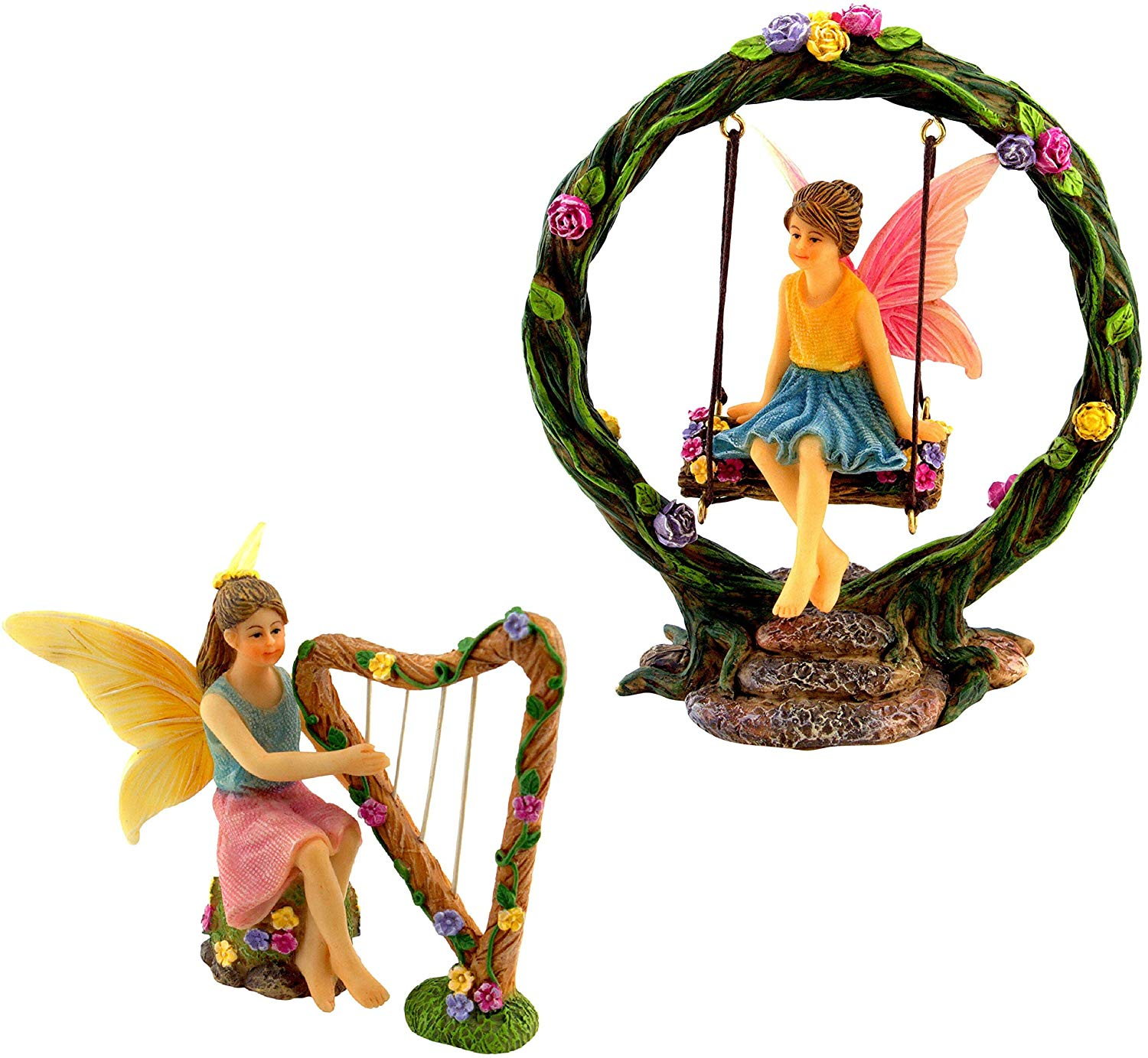 Fairies Playing Harp and Swing Set