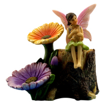 Fairy Flower Stump & Fairy Ella - Fairies For Fairy Garden