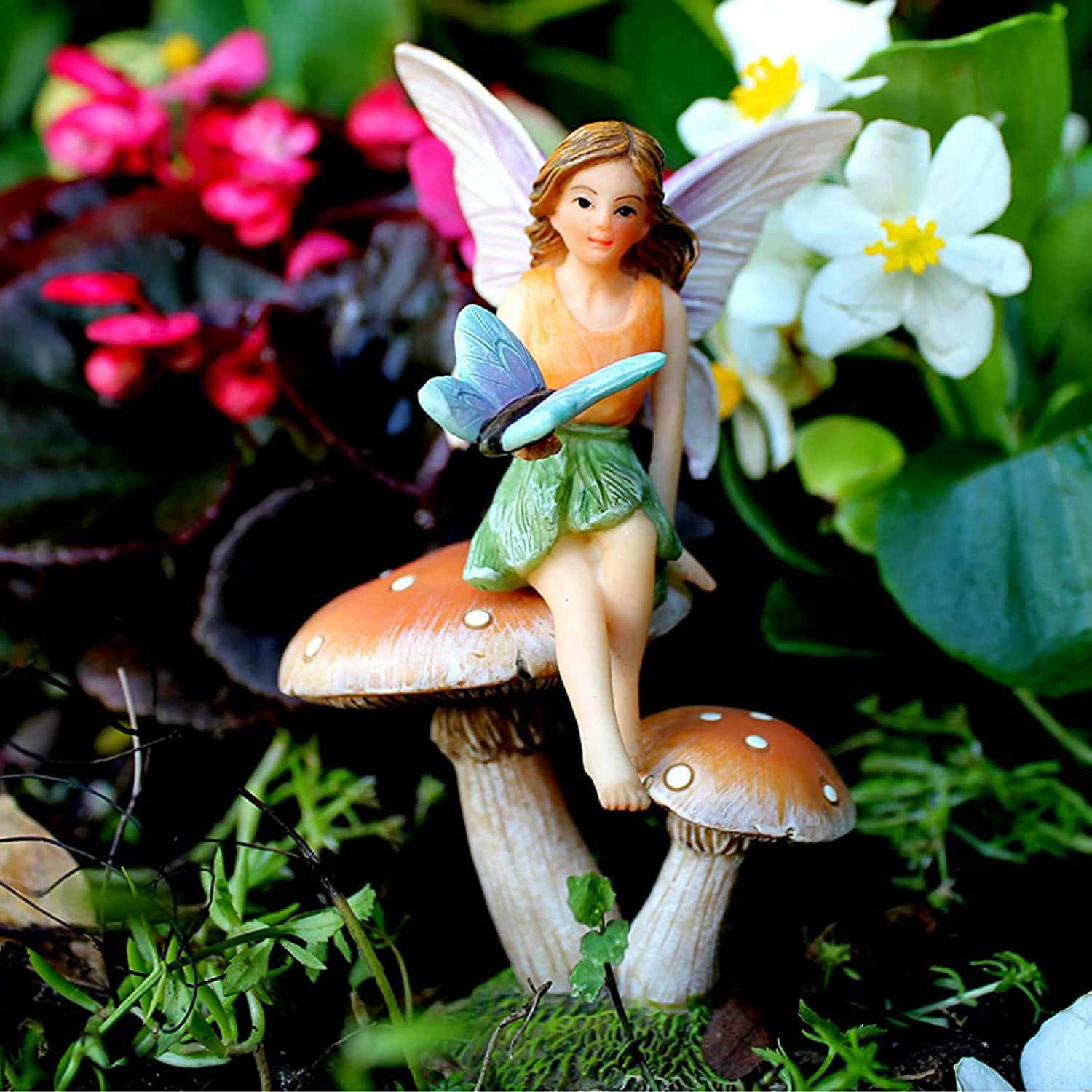 Garden Fairy And Mushroom Stand Set