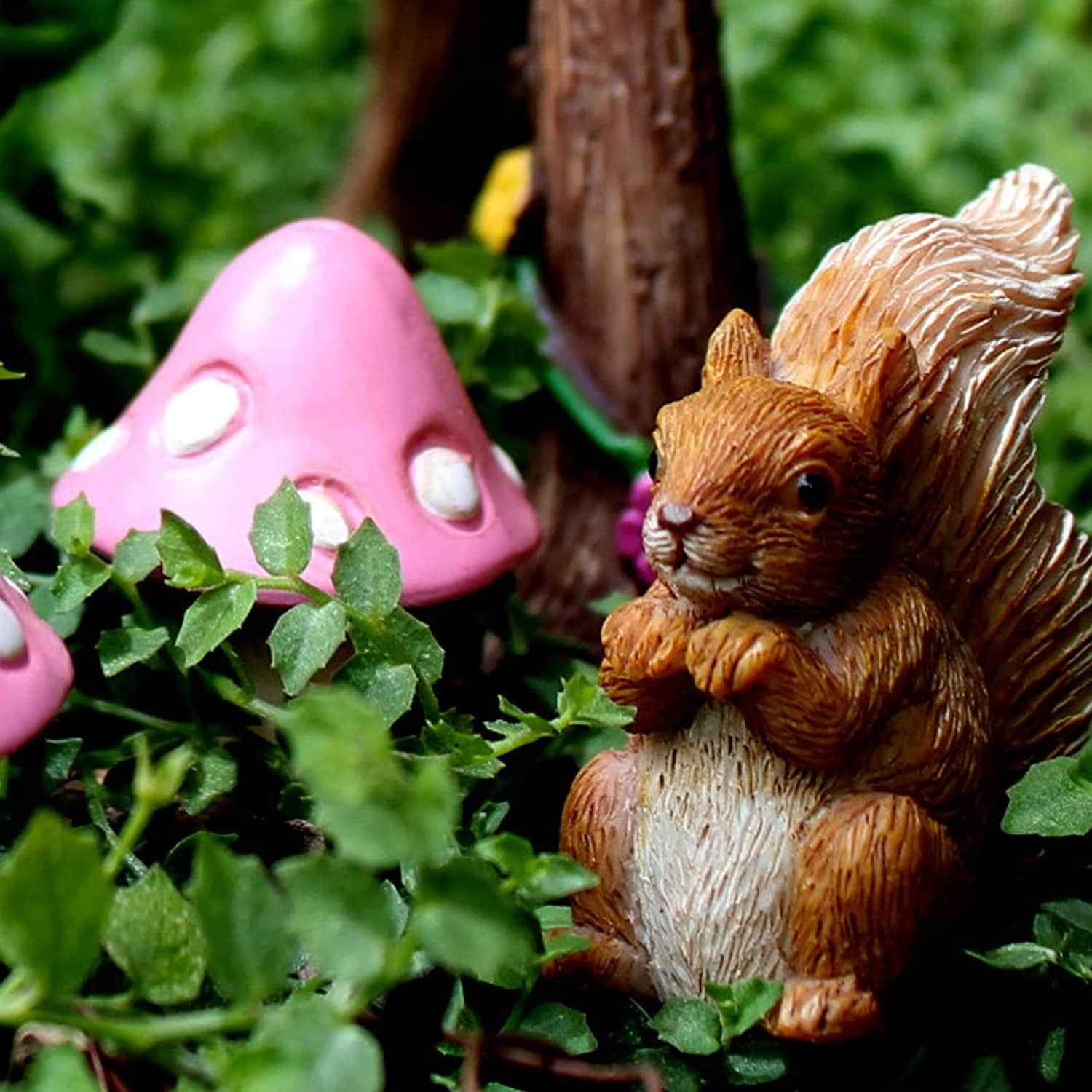 Miniature Fairies And Fairy Swing Set With Squirrel And Mushrooms