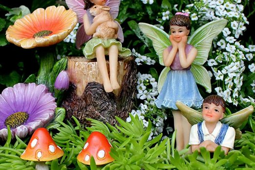Miniature Fairy Figurines And Flower Stump Supplies