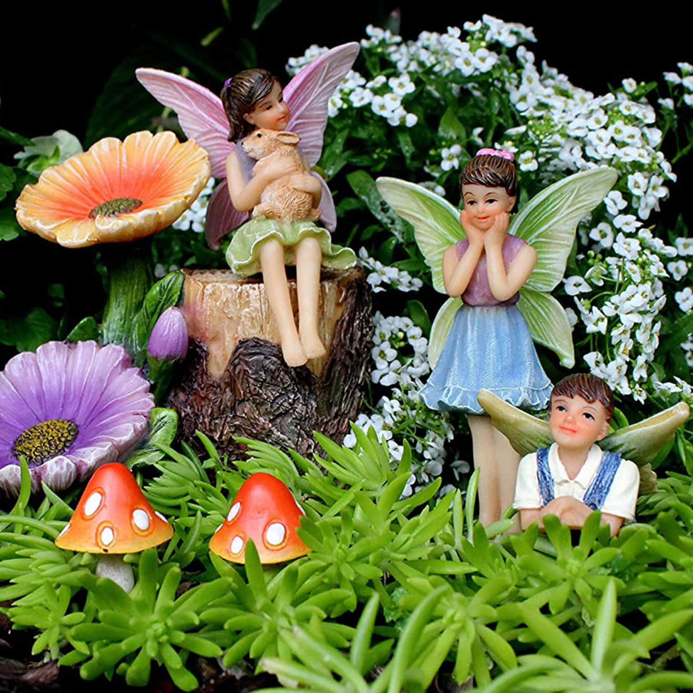 Miniature Fairy Figurines And Flower Stump Supplies