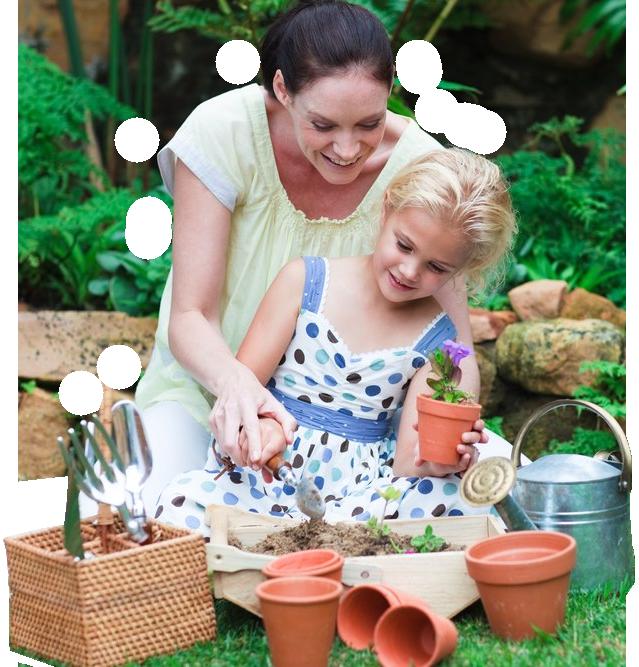 mom and daughter gardening - Fairy Garden Houses