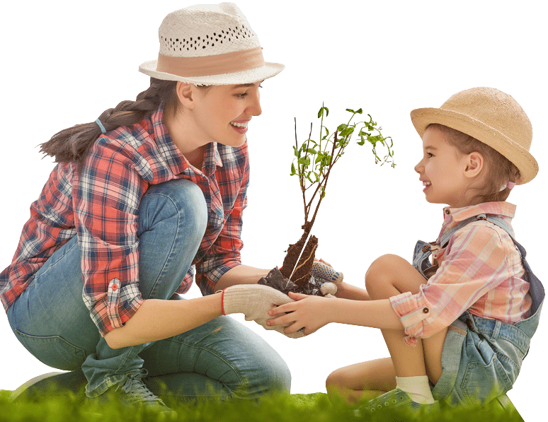 mom and daughter gardening - Fairy Garden Fairies