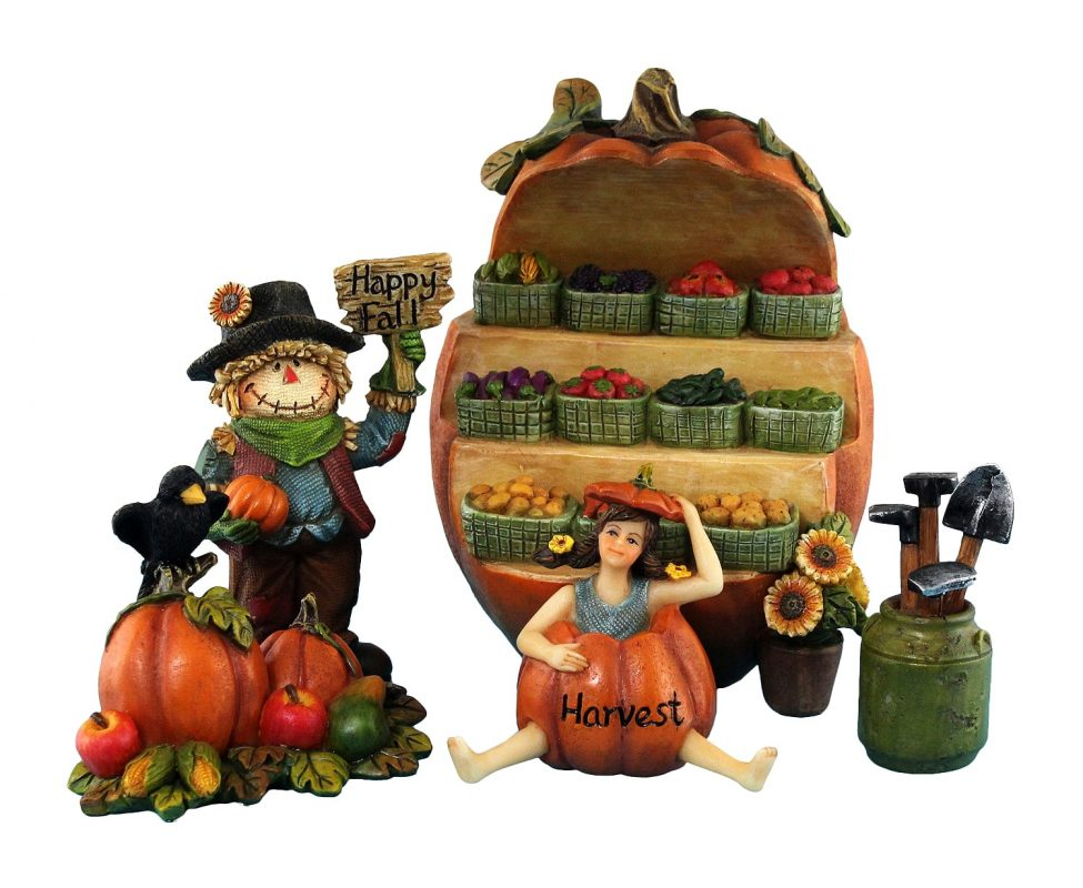 Fairy Garden Fruit Stall with Scarecrow & Accessories