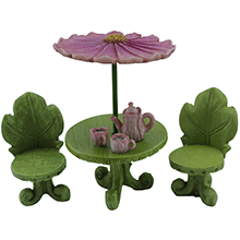 fairy table with flower umbrella and chairs