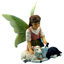 fairy with sheep and dog