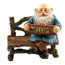 gnome holding welcome sign